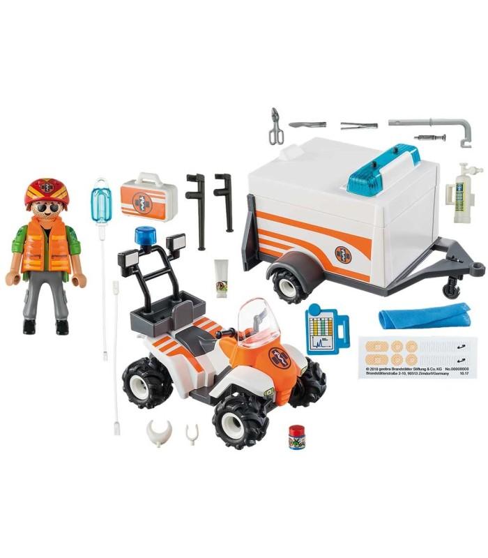 Playmobil 70053 Quad de Rescate con Remolque contenido
