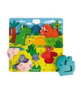 Puzzle Encajable Escondite Dinosaurios Janod