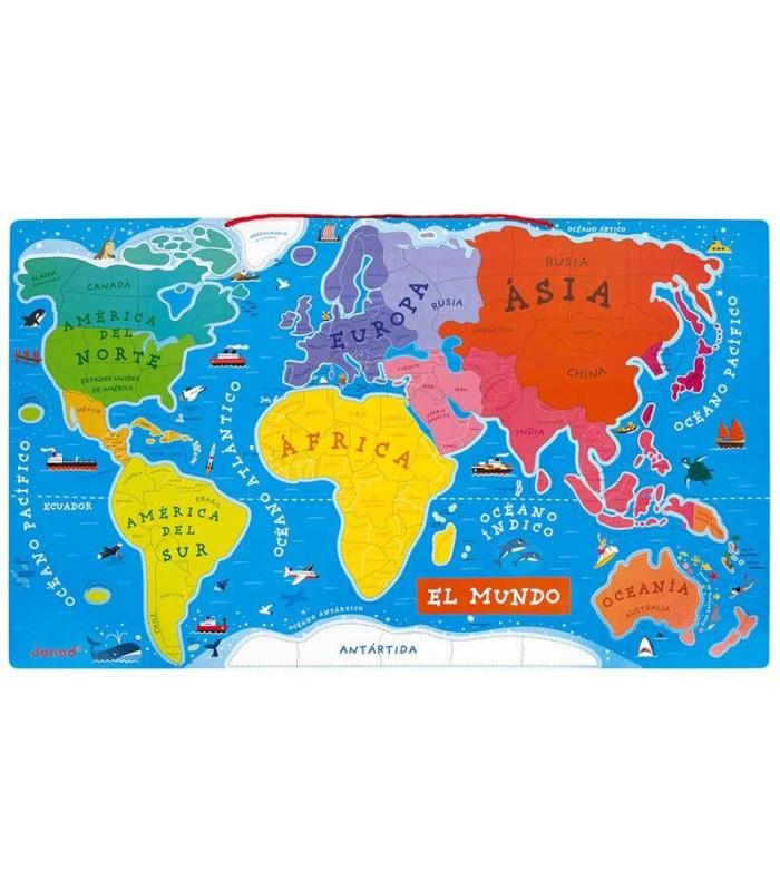 Puzzle Magnético Mapa del Mundo Janod tablero