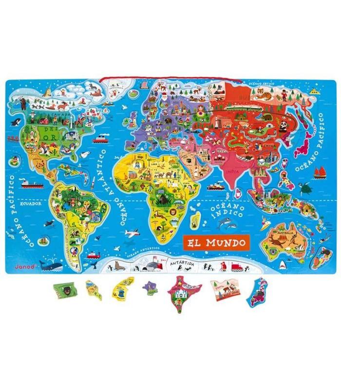 Puzzle Magnético Mapa del Mundo Janod mapa y piezas