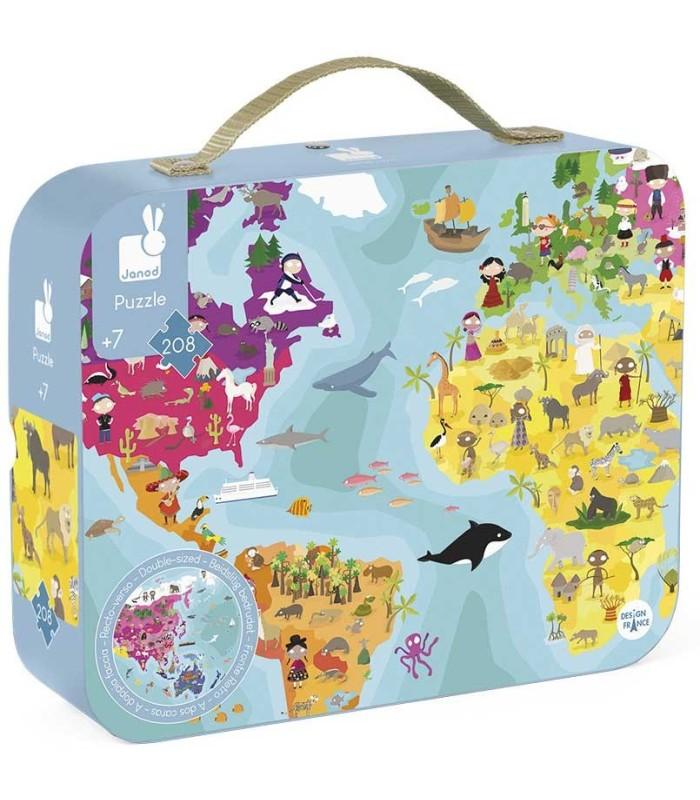 Janod Maletín Puzzle Doble Cara Planeta Azul 208 Piezas box