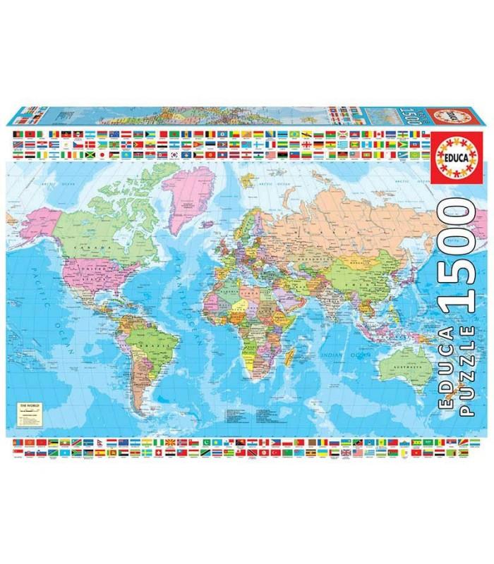 Puzzle Mapamundi Político Educa 1500 Piezas