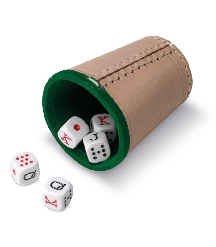 Dados Póker con cubilete forrado