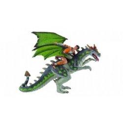 Dragón verde con jinete